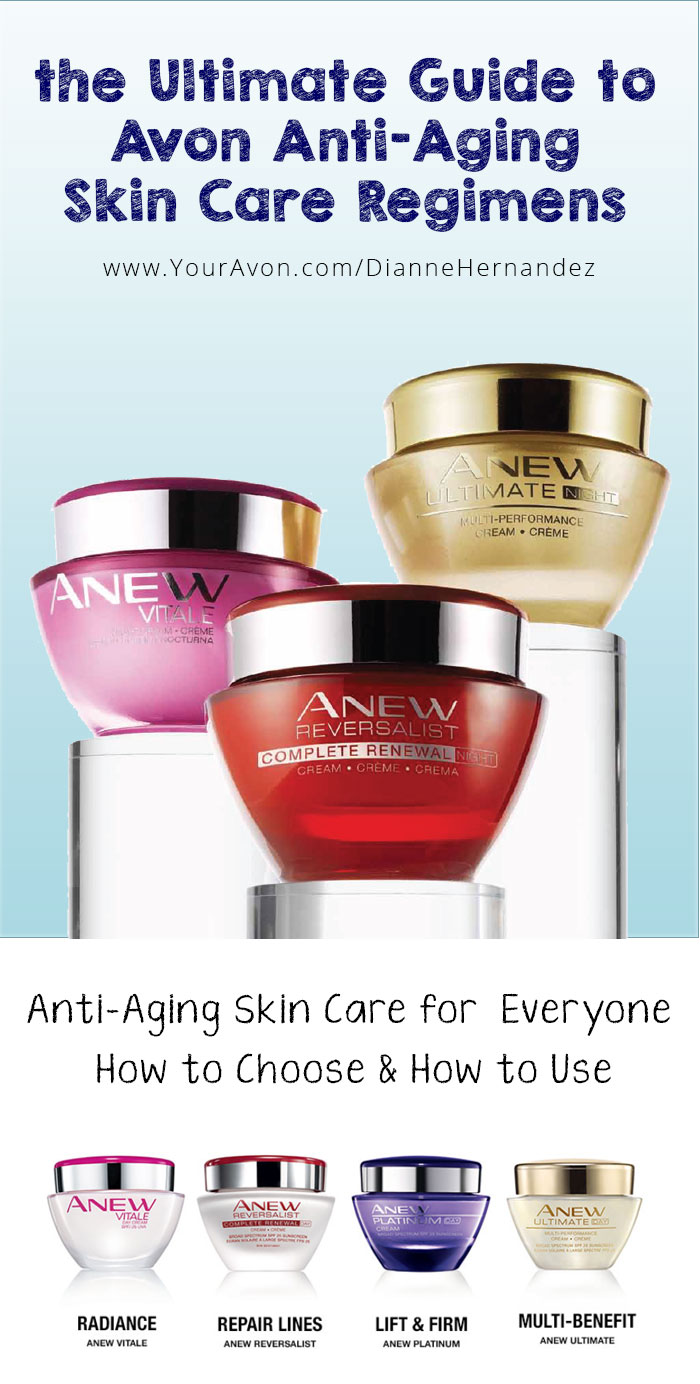 Using Avon Anew skin care regimens regularly has many anti-aging benefits . Here's a breakdown of Avon Anew products & how to choose the right regimen for you.
