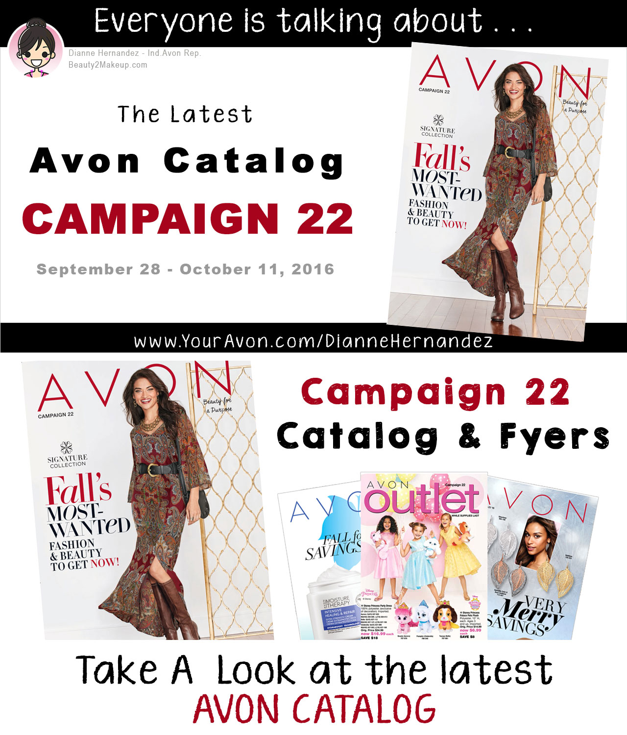 Avon Catalog Campaign 22 October 2016 - In the Avon Campaign 22 catalog Avon adds new merchandise to the Pink Ribbon Shop. October is Breast Cancer Awareness Month and Avon Pink Ribbon products are a great way to spread the word. With every Pink Ribbon purchase a percentage of the net profits will go toward Avon's Breast Cancer Crusade!