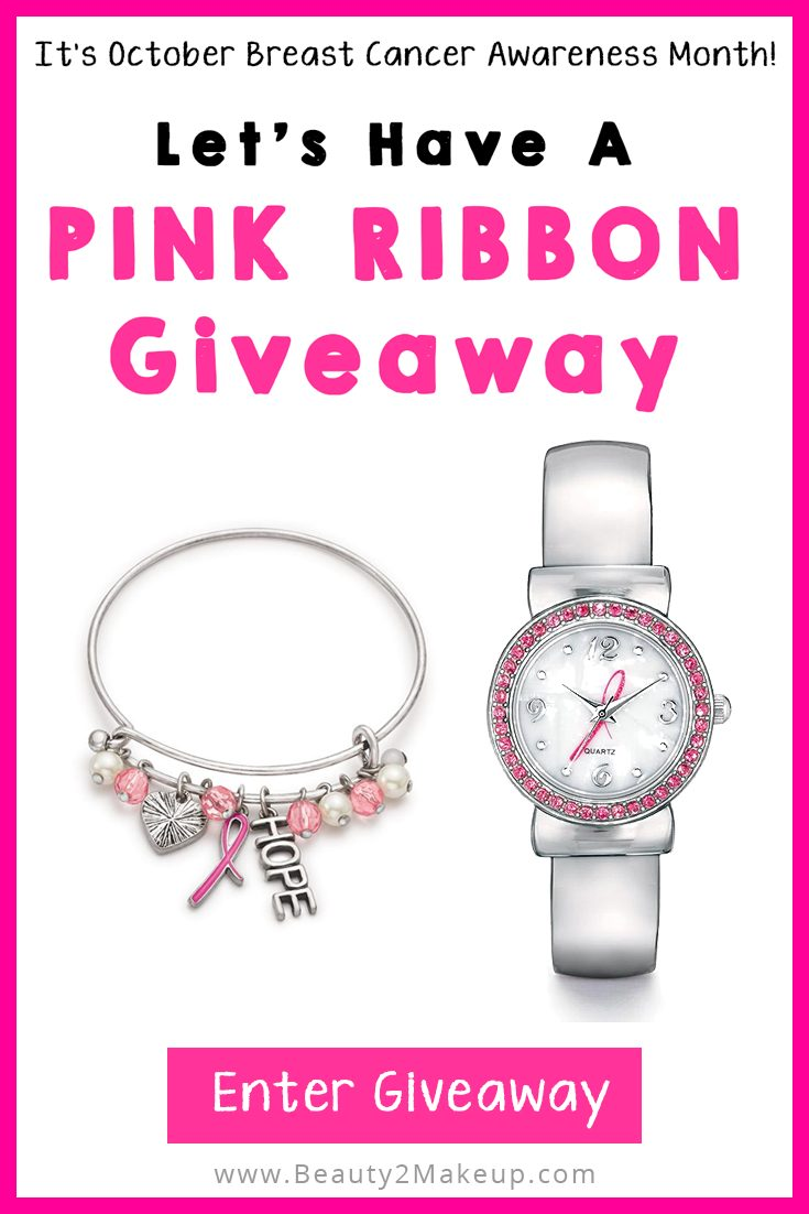 Hey Beauties! It's October Breast Cancer Awareness Month! To spread awareness about early detection and encourage everyone I can to get to checked, I thought it would be a perfect time to have a Pink Ribbon Giveaway! One winner will receive an Avon Pink Ribbon Silver Cuff Watch plus four Bonus Winners will get an Avon Pink Ribbon Charm Bracelet. No Purchase is Necessary. So go ahead and join the fun, tell a friend and spread the word to raise Breast Cancer Awareness!