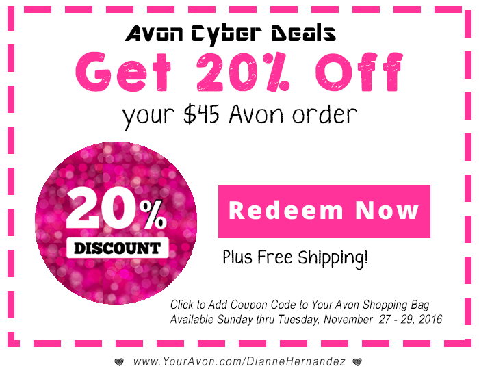 Today's top Avon coupon: 10% Off Your Purchase For First Time Shoppers. Get 50 Avon free shipping coupon codes and coupon codes for on RetailMeNot.