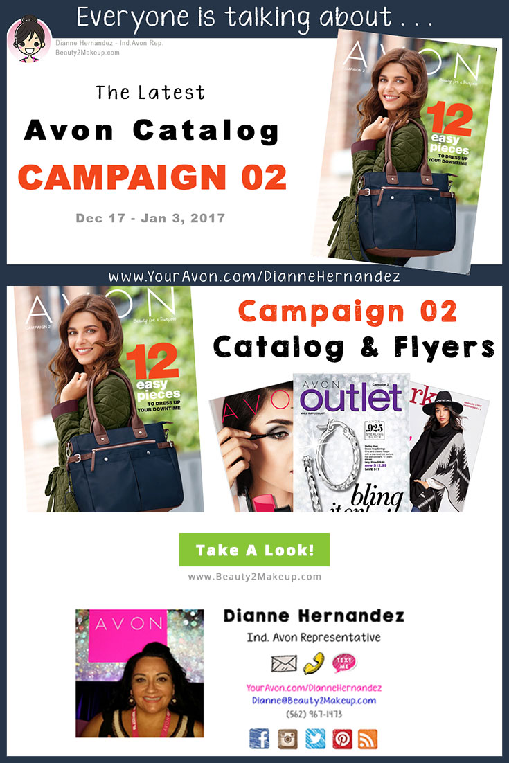 Take a look at the Campaign 2 Avon Catalog January 2017 for the latest sales in Avon Skincare, Makeup, Bath & Body, Fragrance and more!