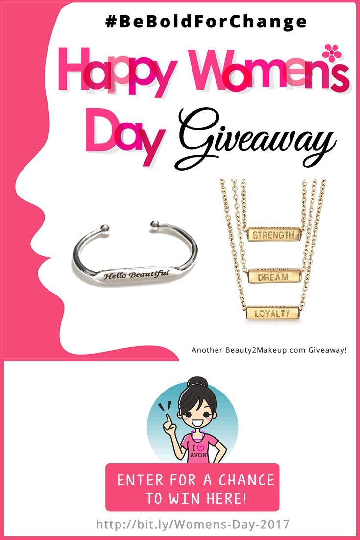 In honor of International Woman's Day I thought it would be a great time to have a giveaway in celebration of us gals! Five Lucky Winners will win Avon Inspirational Jewelry!  Just Enter here http://bit.ly/Womens-Day-2017
