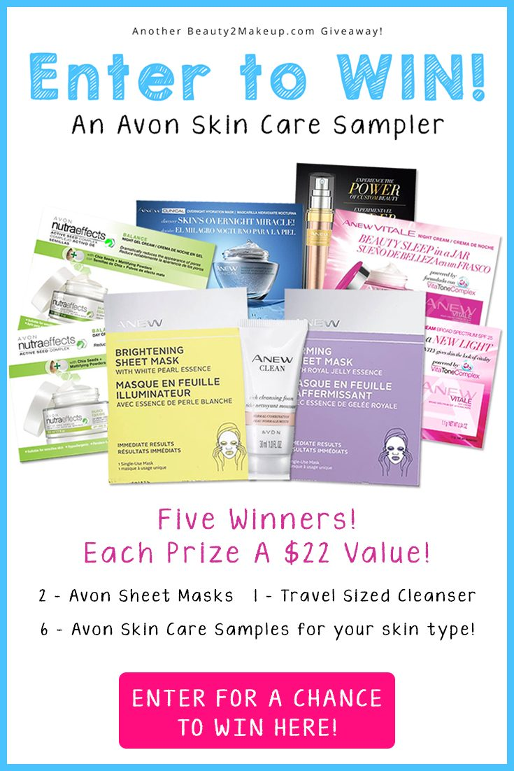Enter to Win An Avon Sheet Masks & Skin Care Sampler Sampler. Five Winners Will Be Selected! Prizes valued at $22 each!