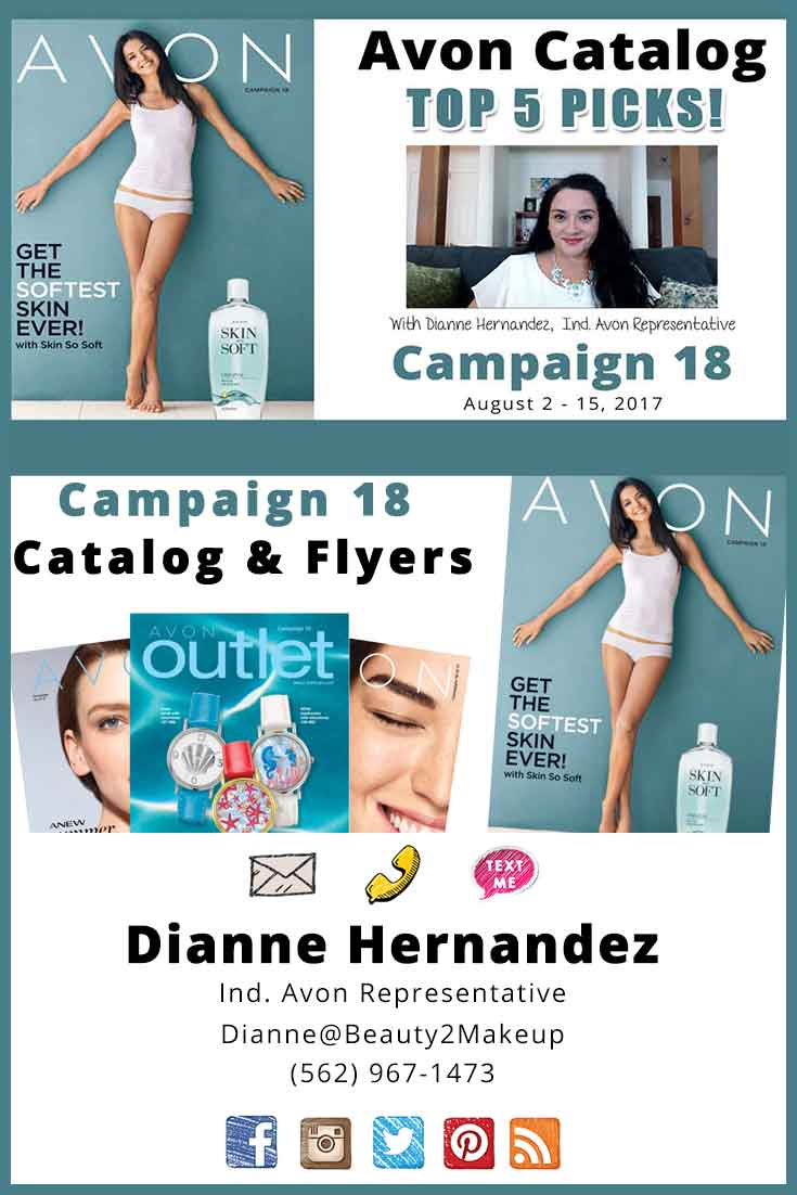 Check out the Avon Campaign 18 Catalog for August 2017. Top 5 Picks to the top sales and new Avon products in the Campaign 18 Avon Brochure